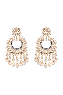 Gold Finish Blue Zircon & Pearl Chandbali Earrings by Unniyarcha