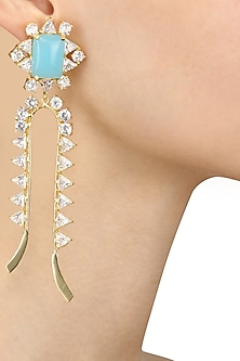 Gold Plated White Trillion and Aqua Stones Earrings