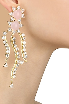 Gold Plated Trillion Zircon and Rose Quartz Earrings