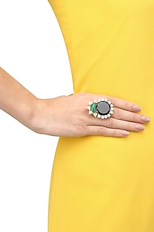 Gold Plated Sapphire Blue Quartz and Green Onyx Cocktail Ring