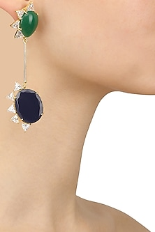 Gold Plated White Trillion Stones and Blue Onyx Earrings