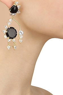 Gold Plated Trillion Zircon and Black Onyx Earrings