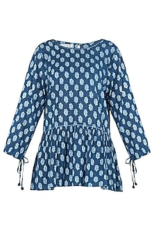 Indigo Blue Embroidered Frill Top