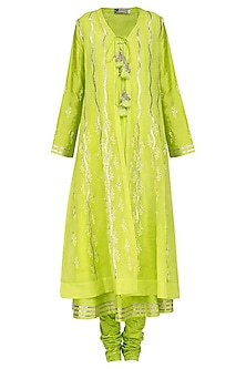 Lime Green Embroidered Front Open Kali Jacket Set