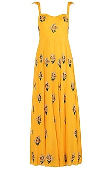 Yellow Floral Embroidered Anarkali Gown Set by Ease