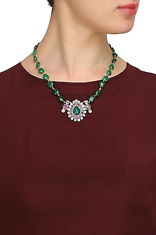 Gold finish red zircon pendant with green beads necklace by Art Karat