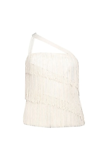 White Fringes and Beaded Three Tier Top