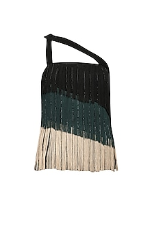 Black, Bottle Green and Beige Fringe Three Tier Top