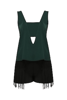 Bottle Green Top and Black Fringed Shorts Set