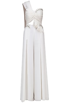 White Embellished Knotted Jumpsuit