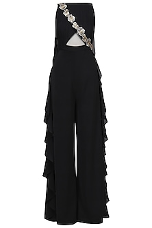 Black Cowl Back Ruched Jumpsuit