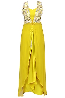 Buttercup Yellow Cutwork Jacket with Drape Skirt and Bralette Set