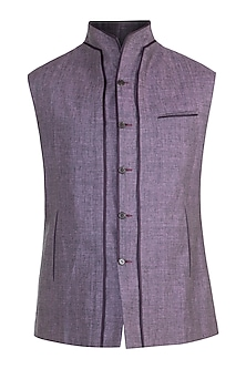 Grey Double Paneled Waistcoat by Unit by Rajat Suri