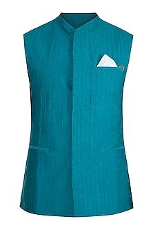Green Textured Waistcoat With Kurta