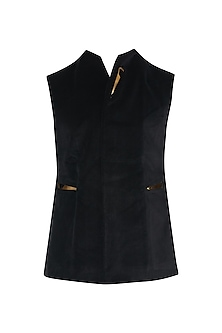 Black Metal Insert Velvet Waist Coat by Unit by Rajat Suri