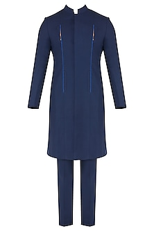 Navy Blue Metal Insert Long Bandhgala Jacket with Trousers
