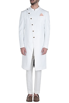 White Bandhgala Jacket with Pants by Unit by Rajat Suri