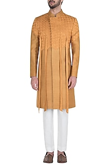 Ochre Pintucks Bandhgala Jacket with Pants by Unit by Rajat Suri