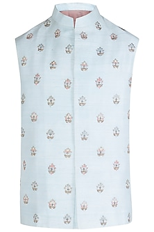 Powder Blue Embroidered Waist Coat
