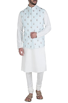 Powder Blue Embroidered Waist Coat by Unit by Rajat Suri