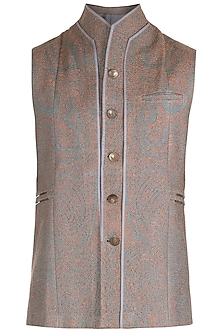 Grey High Neck Panelled Waist Coat by Unit by Rajat Suri