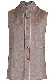 Grey High Neck Panelled Waist Coat