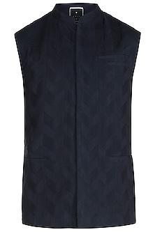 Navy Blue Pintucks Waist Coat by Unit by Rajat Suri