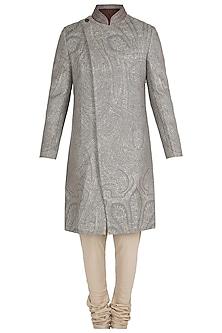 Mud Grey Zardozi Jacquard Bandhgala Jacket with Pants by Unit by Rajat Suri