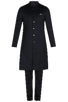 Black Metal Insert Long Bandhgala Jacket with Pants