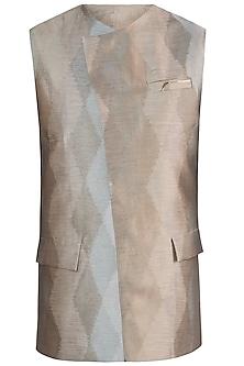 Greenish grey jacquard waistcoat