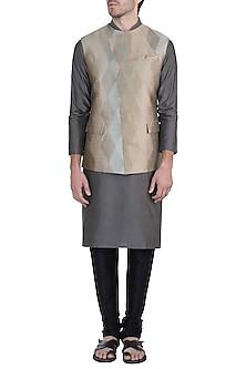 Greenish grey jacquard waistcoat by Unit by Rajat Suri
