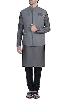 Grey textured waistcoat by Unit by Rajat Suri
