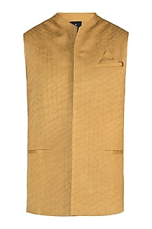 Yellow textured waistcoat