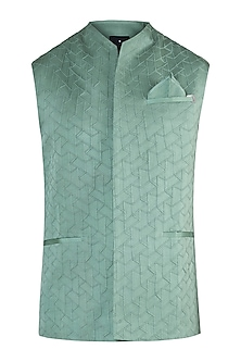 Green textured waistcoat by Unit by Rajat Suri