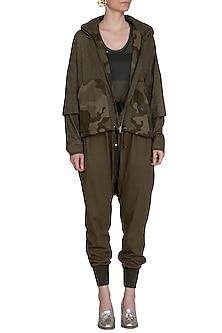 Khaki Camouflage Hoodie Jacket by Kapda By Urvashi Kaur