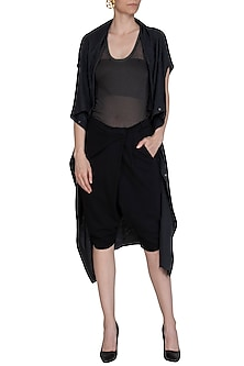 Black Cotton Jersey Pants by Kapda By Urvashi Kaur