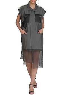 Grey Sleeveless Dress by Kapda By Urvashi Kaur