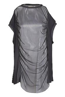 Grey Panelled T-Shirt by Kapda By Urvashi Kaur