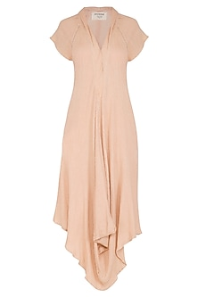 Salmon Pink Cotton Dress by Urvashi Kaur
