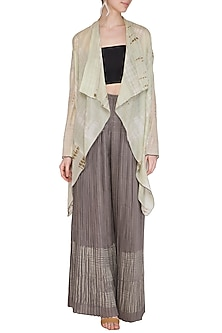 Grey Tie-Dye Printed Sheer Cape by Urvashi Kaur