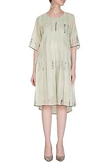 Sage Green Tie-Dye Pleated Dress by Urvashi Kaur