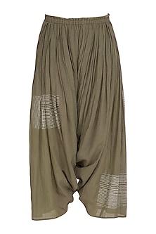 Brown Block Printed Salwar Pants by Urvashi Kaur