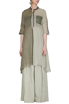 Sage Green Panelled Tunic by Urvashi Kaur