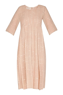 Salmon Pink Printed & Pleated Sheer Dress by Urvashi Kaur