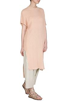 Salmon Pink Viscose Cotton Tunic by Urvashi Kaur