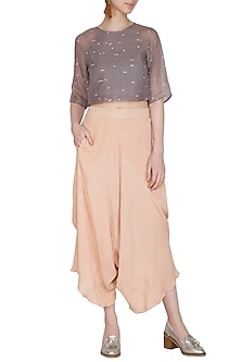 Salmon Pink Viscose Cotton Pants by Urvashi Kaur
