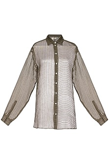 Olive Green Tailored Sheer Shirt by Urvashi Kaur