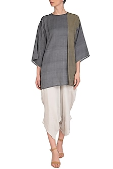 Grey Box Panelled Top by Urvashi Kaur