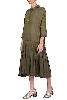 Olive Green Hand Tucked Dress by Urvashi Kaur