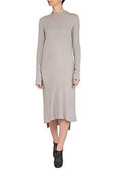 Light Grey Textured Long Tunic by Urvashi Kaur